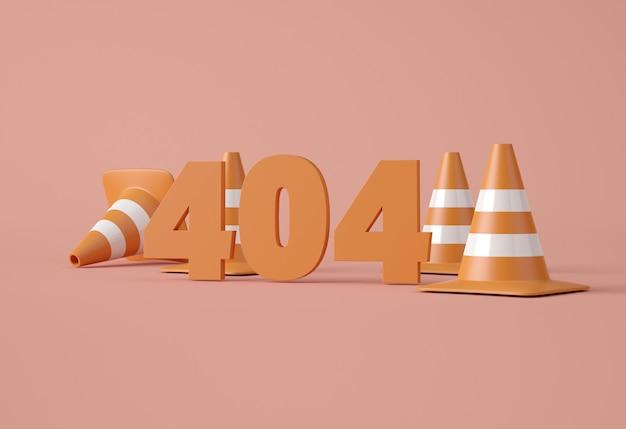 Ilustracja 3d. 404 błąd strony internetowej.