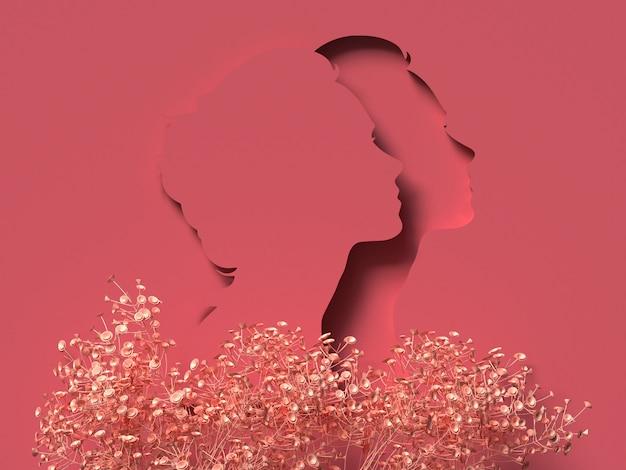 Ilustracja 3d. 8 marca z czerwoną twarzą kobiety papercut. koncepcja dnia kobiet.