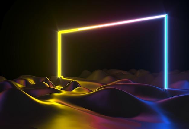 Ilustracja 3d. abstrakcyjne kształty neonowe hologram led laserowy portal drzwiowy