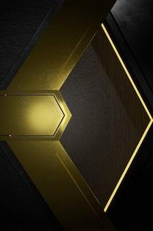 Ilustracja 3d. abstrakcyjny złoty i czarny kierunek strzałki na czarnej pustej przestrzeni na logo tekstowe, koncepcja nowoczesnej luksusowej futurystycznej powierzchni i broszury