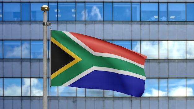 Ilustracja 3d afrykańska flaga rsa macha w nowoczesnym mieście wieżowca. piękna wysoka wieża z banerem rpa dmuchającym miękkim jedwabiem. tkanina tkanina tekstura tło chorąży.