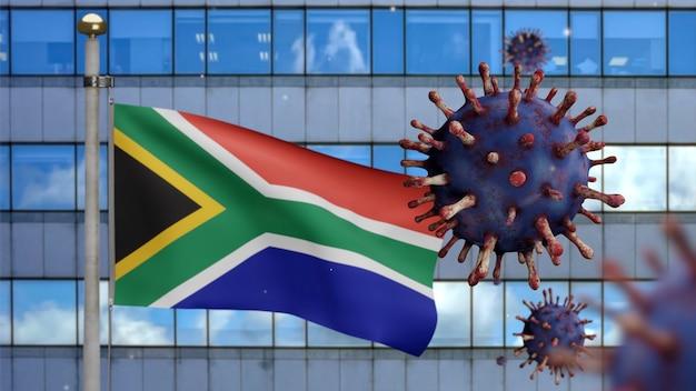 Ilustracja 3d afrykańska flaga rsa machająca na nowoczesnym mieście drapacza chmur z koronawirusem 2019. piękna wysoka wieża i epidemia w republice południowej afryki. wirus mikroskopowy covid 19