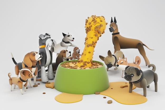 Ilustracja 3d aktywności psa