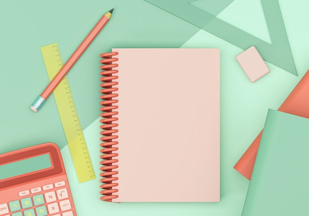 Ilustracja 3d. artykuły i przedmioty szkolne. powrót do szkoły