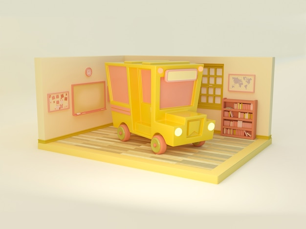 Ilustracja 3d. autobus szkolny i sala lekcyjna na na białym tle. powrót do szkoły