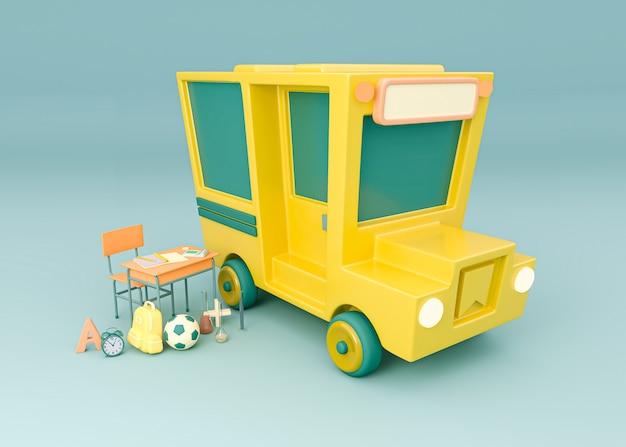 Ilustracja 3d. autobus szkolny z przyborami szkolnymi. powrót do szkoły