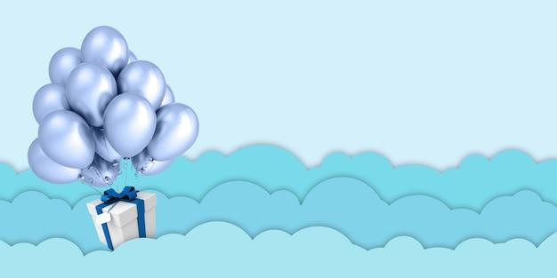 Ilustracja 3d balony z papieru unoszące się na chmurach zielonego nieba i pudełka na prezenty na tle błękitnego nieba na wesołych świąt i szczęśliwego nowego roku festiwal urodzinowy