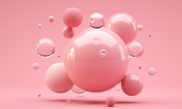 Ilustracja 3d. błyszczące kulki o różnej wielkości na różowym tle. koncepcja streszczenie tło.