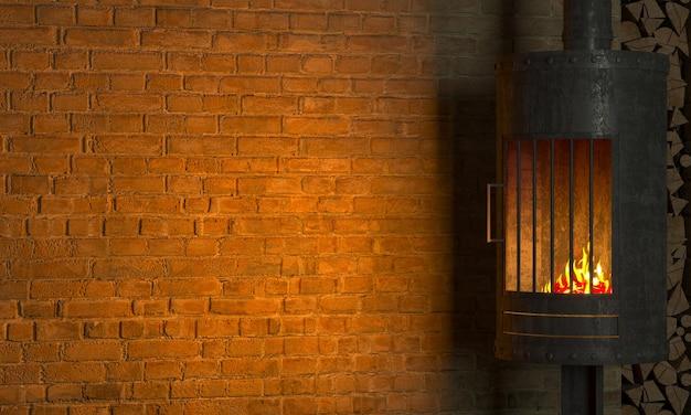 Ilustracja 3d. brutalny stalowy kominek we wnętrzu w stylu loft. technika grzewcza. tło stary beton na starym murze