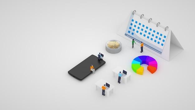 Ilustracja 3d. codzienne statystyki, praca firmy. graficzne modele wykresów, tabel i statystyk. statystyki online, błędne obliczenia