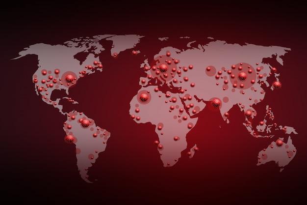 Ilustracja 3d covid-19 rozprzestrzenia się na całym świecie, koncepcje podróży, rendering 3d