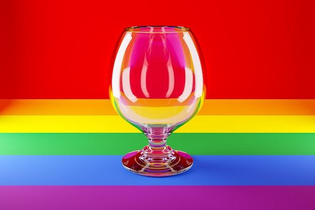 Ilustracja 3d czara szklana do koniaku, whisky na kolorowej powierzchni.