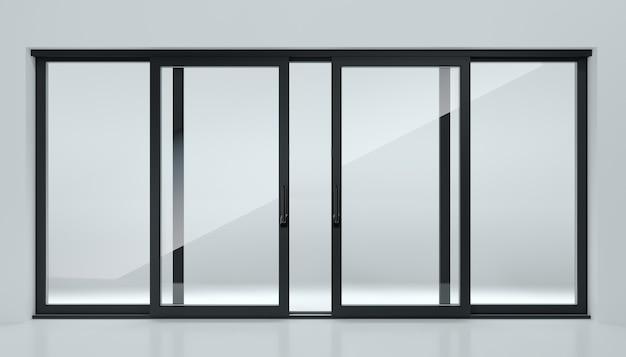Ilustracja 3d. czarne drzwi przesuwne w sklepie lub w oknach. tło dla banera. reklama. nowoczesne technologie budowlane