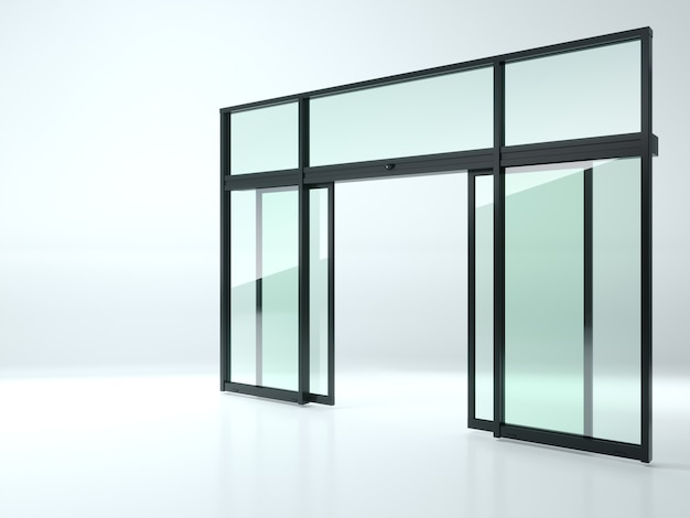 Ilustracja 3d. czarne podwójne automatyczne szklane drzwi w sklepie lub w witrynach.