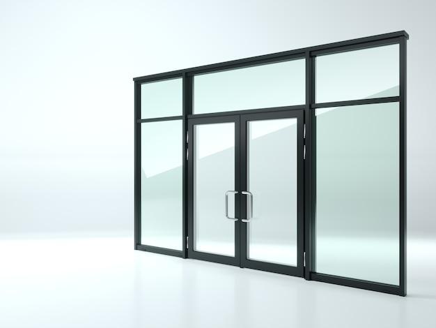 Ilustracja 3d. czarne podwójne szklane drzwi w sklepie lub w oknach.