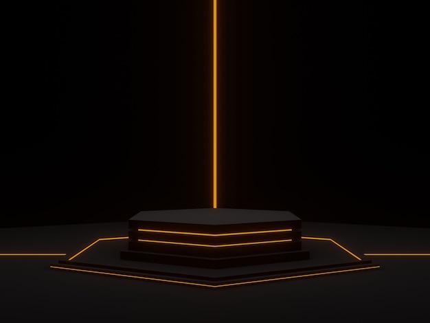 Ilustracja 3d. czarny futurystyczny stojak z neonowymi światłami. sześciokątne podium naukowe.