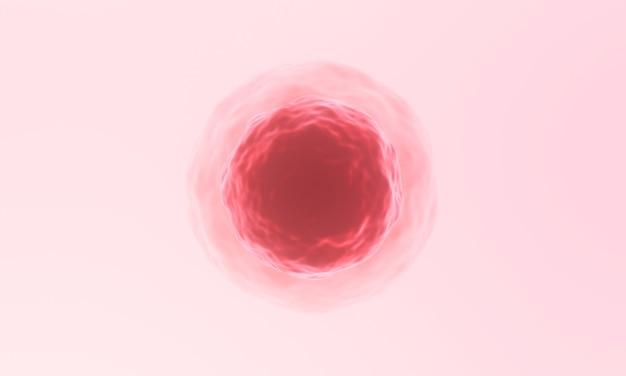 Ilustracja 3d. czerwona ludzka mikroskopijna komórka