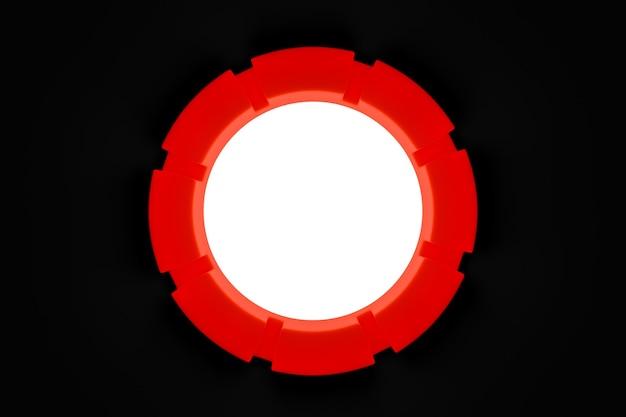 Ilustracja 3d czerwonego portalu internetowego z białą świecącą kulą w środku.