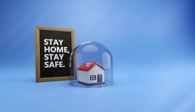 """Ilustracja 3d domu chronionego pod szklaną kopułą i tablicą tekstową z napisem """"zostań w domu, bądź bezpieczny"""""""