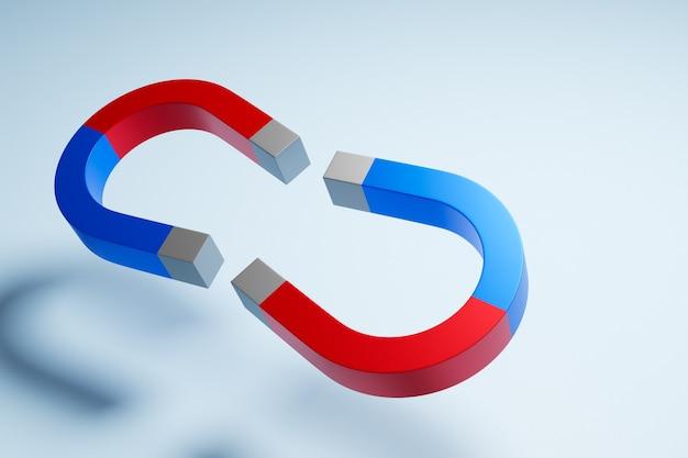 Ilustracja 3d dwa klasyczne magnesy z czerwonymi i niebieskimi końcami w postaci podkowy naprzeciw siebie latające w powietrzu na białym tle na białym tle