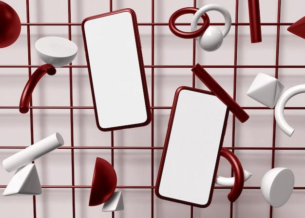 Ilustracja 3d. dwa smartfony z białym ekranem