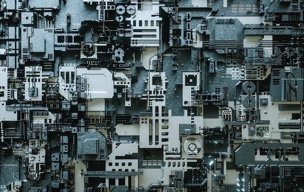 Ilustracja 3d. elektroniczna płyta główna. streszczenie tło technologii cyfrowej.
