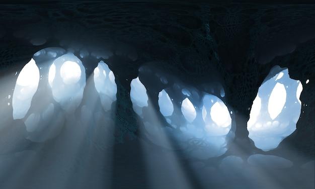 Ilustracja 3d. fantastyczna jaskinia z kolumnami i promieniami światła przechodzącymi między kolumnami