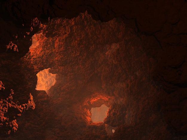 Ilustracja 3d. fantastyczna jaskinia z oknami i światłem wpadającym przez okna i przez szczyt
