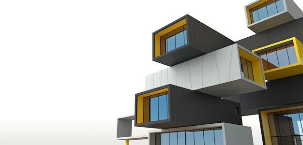 Ilustracja 3d. fasada budynku wieżowca z kontenerów. nowoczesne biuro lub hotel w metropolii