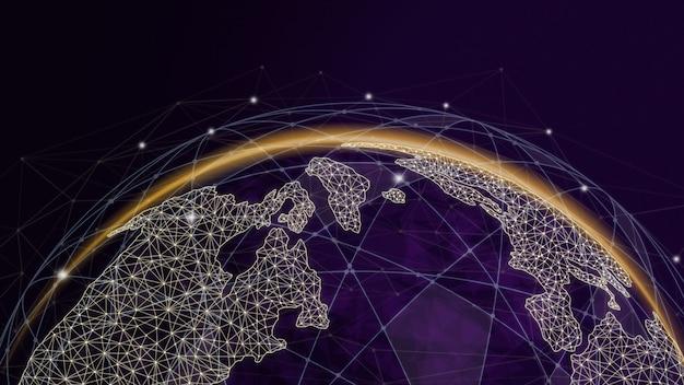 Ilustracja 3d globalna nowoczesna kreatywna komunikacja i mapa sieci internetowej