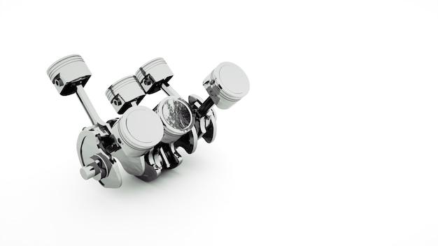 Ilustracja 3d, inżynieria metalowy tłok z pierścieniem. szczegóły technologiczne mechanizmu. projekt obiektu na białym tle.