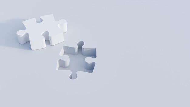 Ilustracja 3d. kawałki układanki na białym tle. renderowanie 3d
