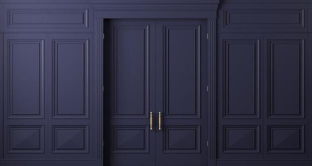 Ilustracja 3d. klasyczna ściana drzwi z ciemnego drewna. stolarka we wnętrzu. tło.