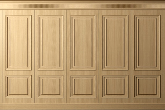 Ilustracja 3d. klasyczna ściana z paneli z drewna bukowego w stylu vintage. stolarka we wnętrzu. tło.
