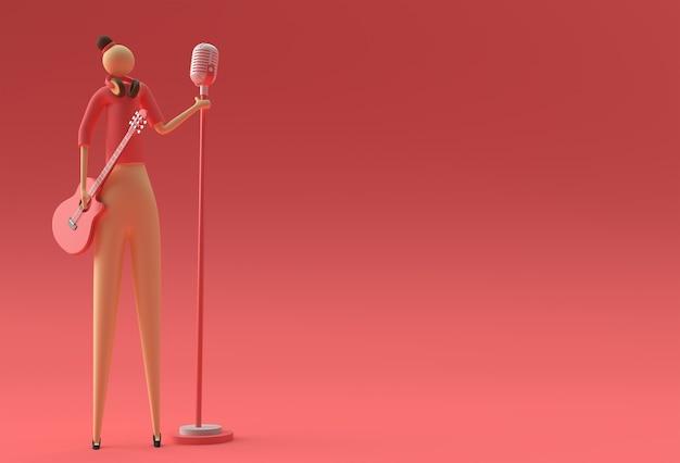 Ilustracja 3d kobieta singer z gitarą i mikrofonem cartoon 3d render design.