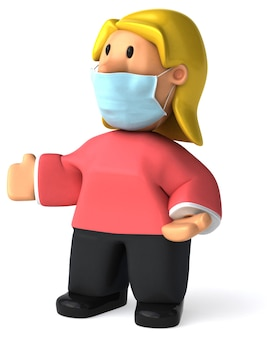 Ilustracja 3d kobiety z maską