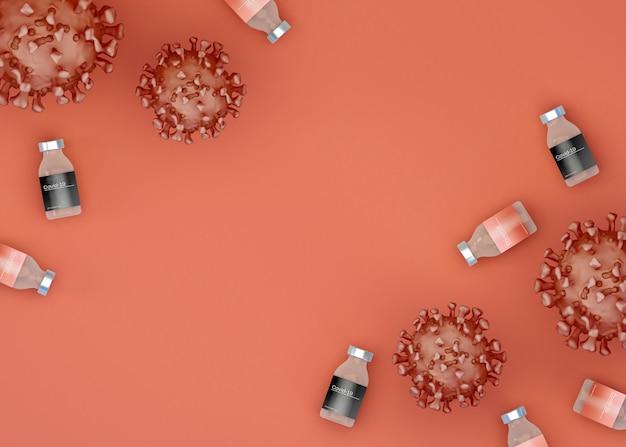 Ilustracja 3d. komórki wirusa koronawirusa ze szczepionką covid-19. medycyna i nauka leżały płasko.
