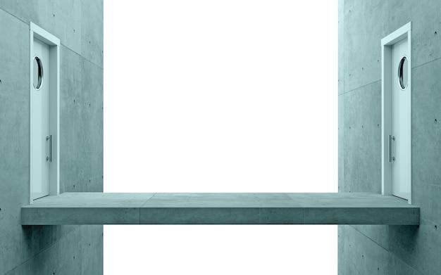 Ilustracja 3d. koncepcja biznesowa metafora most drzwi biuro.