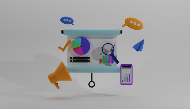 Ilustracja 3d koncepcja biznesowa w mediach społecznościowych