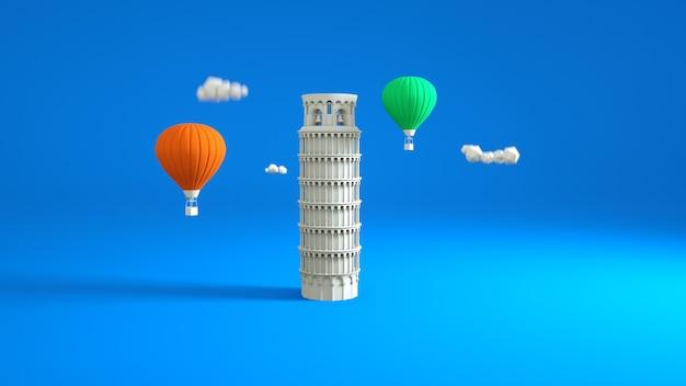 Ilustracja 3d, krzywa wieża w pizie, historyczny punkt orientacyjny.