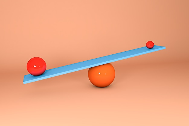 Ilustracja 3d. kule balansujące na huśtawce. koncepcja równowagi.