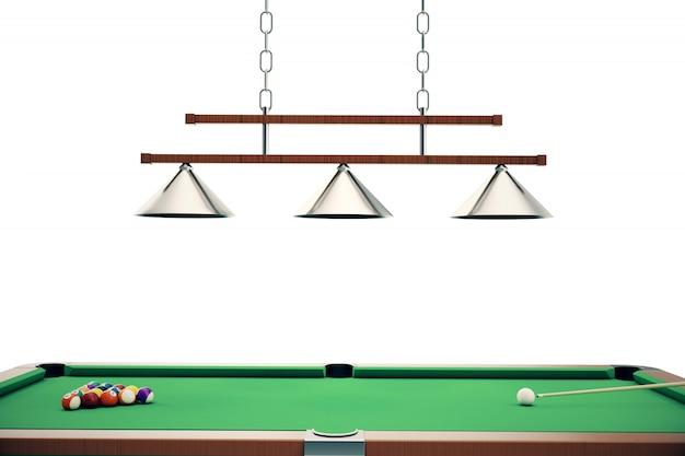 Ilustracja 3d kule bilardowe w zielonym stole bilardowym