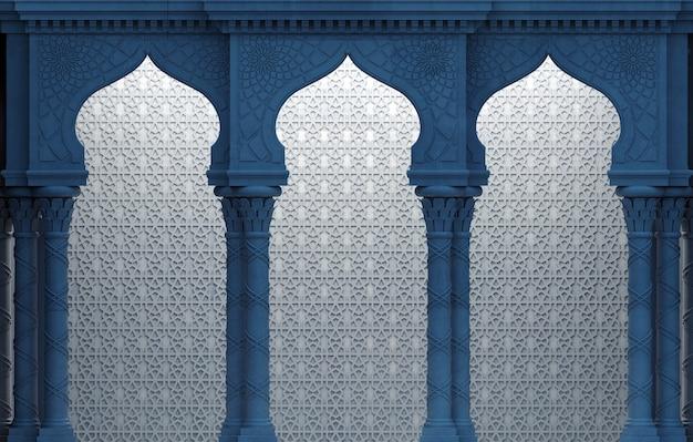 Ilustracja 3d. łuk wschodni mozaiki w nocy. rzeźbiona architektura i klasyczne kolumny. indyjski styl. dekoracyjna rama architektoniczna.