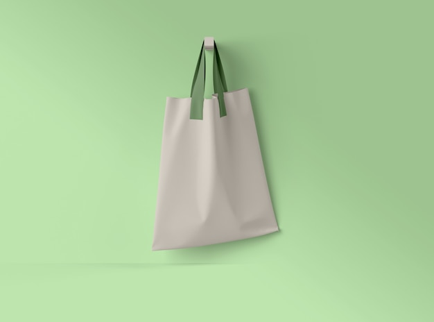 Ilustracja 3d. makieta bawełnianej torby tekstylnej.