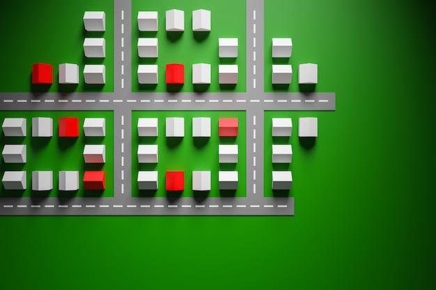 Ilustracja 3d małe, identyczne biało-czerwone parterowe domy wiejskie stoją równymi rzędami na zielonej trawie.