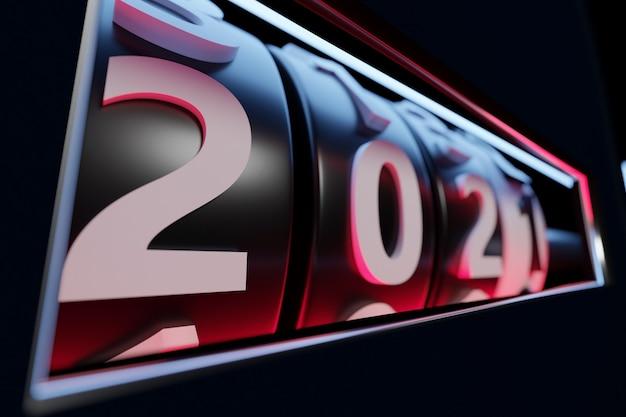 Ilustracja 3d na początku 2021 roku znak lub symbol, czarny prostokątny kształt. ilustracja symbolu nowego roku. konwersja interaktywnego kalendarza
