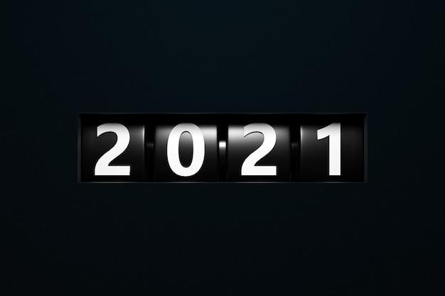 Ilustracja 3d na początku 2021 roku znak lub symbol, czarny prostokątny kształt. ilustracja symbolu nowego roku.