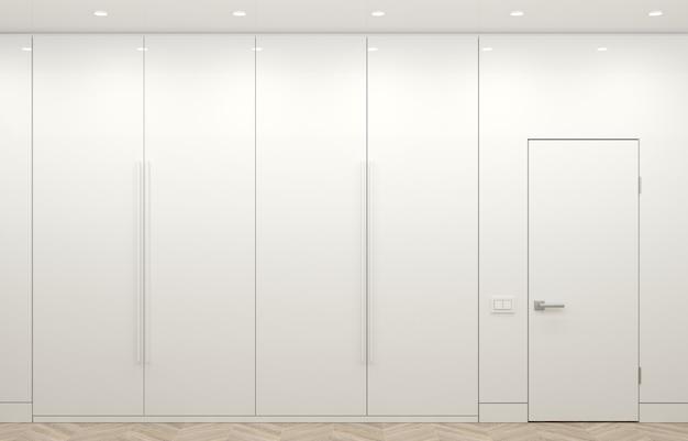 Ilustracja 3d. nowoczesna biała szafa i minimalistyczne drzwi. meble