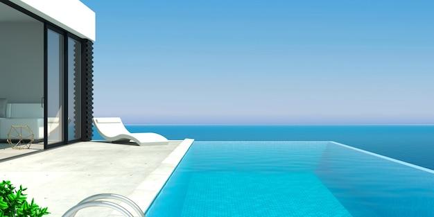 Ilustracja 3d. nowoczesna willa nad morzem z basenem i leżakami. niebieska woda. ośrodek lub hotel