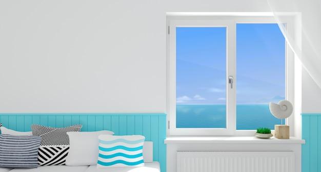 Ilustracja 3d. nowoczesne białe okno we wnętrzu